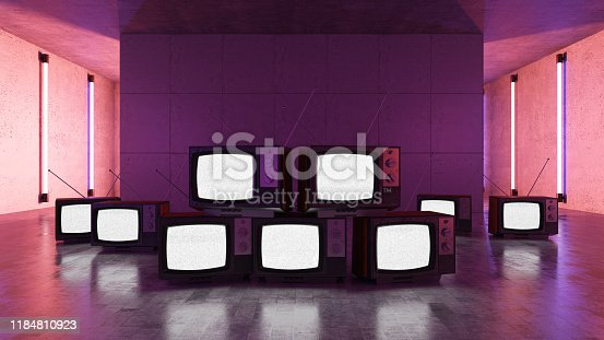 Old TVs with Neon Lights. 3d Render
