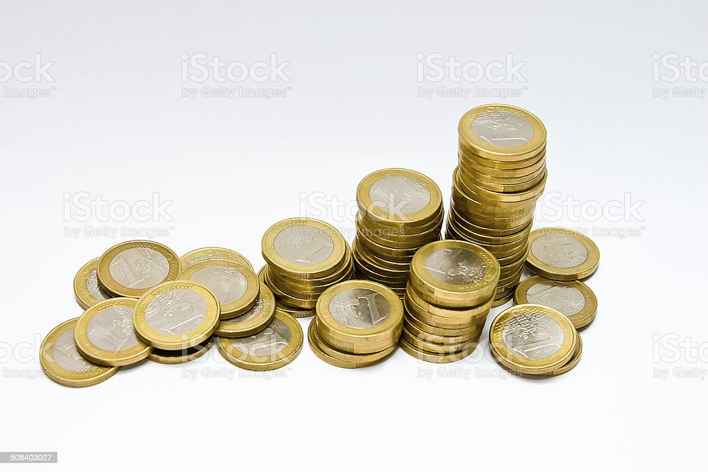 Pile of One Euro Coins stock photo
