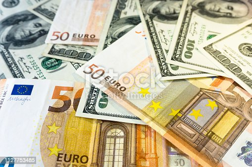 A pile of one hundred dollars USD and fifty euros EUR background close. Money and financial concept.
