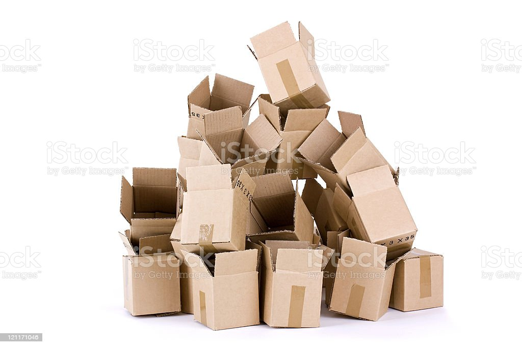 Pile of open cardboard boxes on white background stock photo