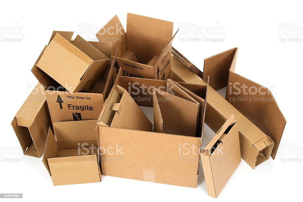 Pile of open cardboard boxes royalty-free stock photo