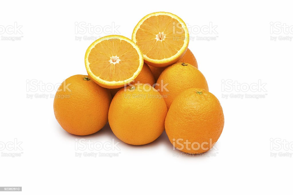 Pile of oranges isolated on the white royalty-free stock photo