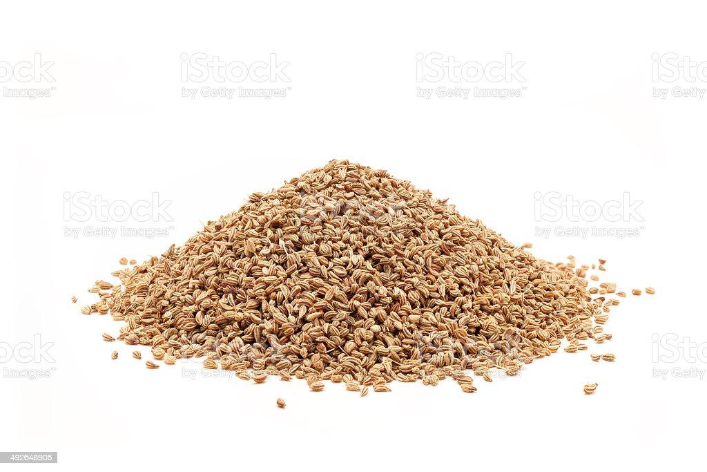 Pile of Organic Ajwain. stock photo