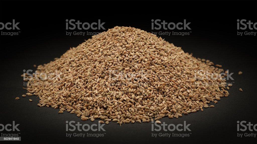 Pile of Organic Ajwain (Trachyspermum ammi) stock photo