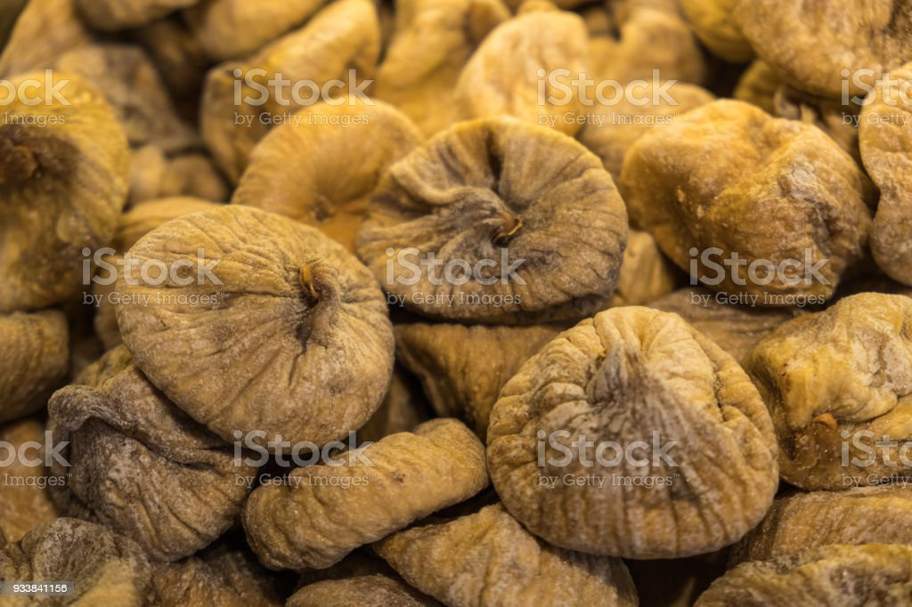 Pile of organic dry figs stock photo