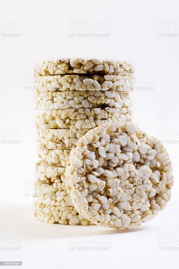 Pile Of Organic Rice Cakes  White Background stock photo
