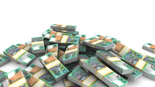 Pile of packs of Australia Dollar bills stock photo