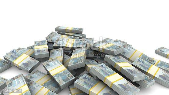 Pile of packs of Brazil Reais bills