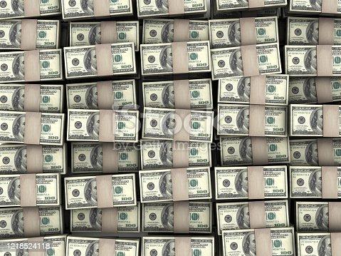 Pile of packs of dollar bills