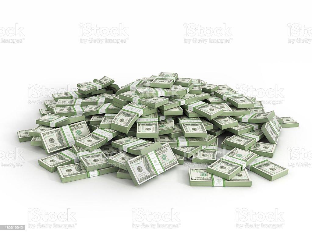 Pile of packs of dollar bills stock photo