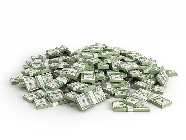 Pile of packs of dollar bills Pile of packs of dollar bills millionnaire stock pictures, royalty-free photos & images