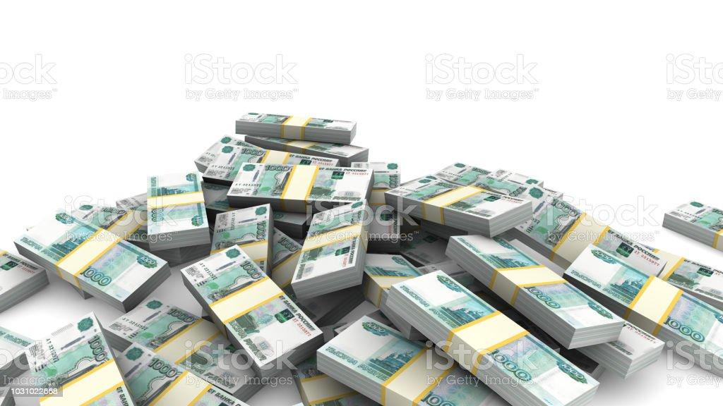 Pile of packs of Ruble bills stock photo