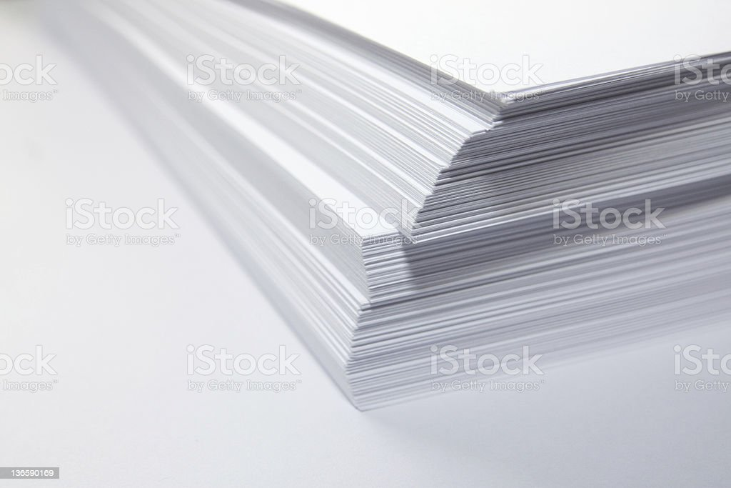 Pile of paper documents stock photo