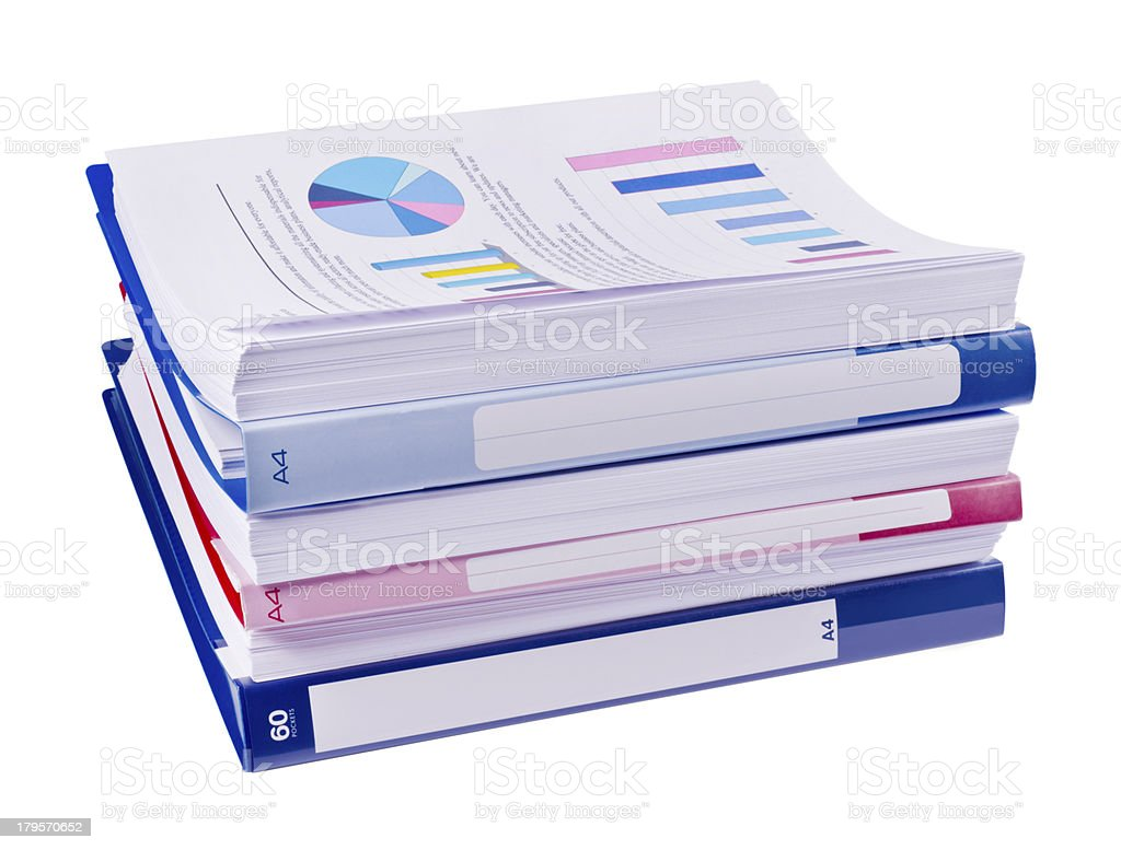 Pile of papers and binders royalty-free stock photo