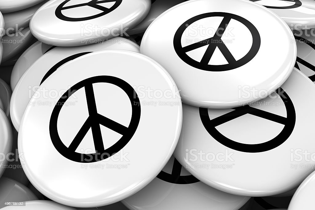 Pile of Peace Symbol Badges - World Peace Concept Image stock photo