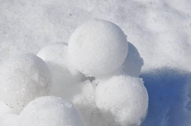 Pile of perfect white snow balls stock photo
