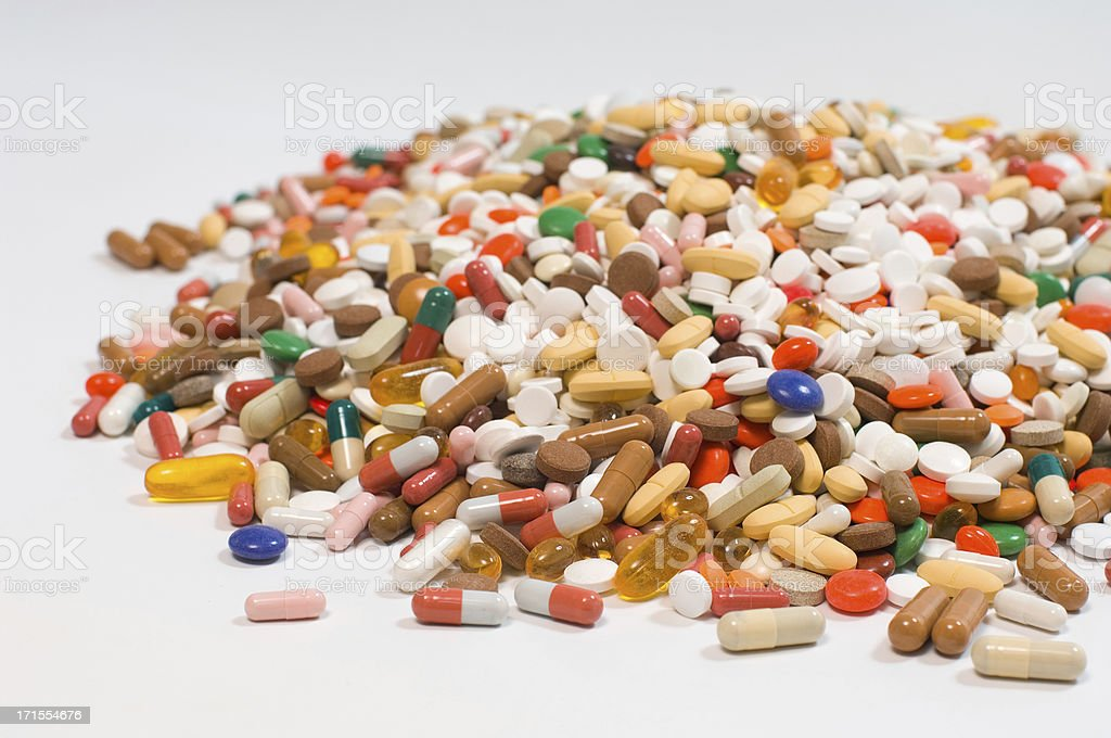 pile of pills stock photo