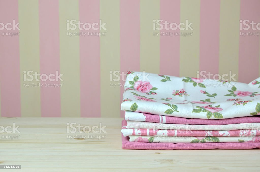 Pile Of Pink Kitchen Towels Stock Photo - Download Image Now ...