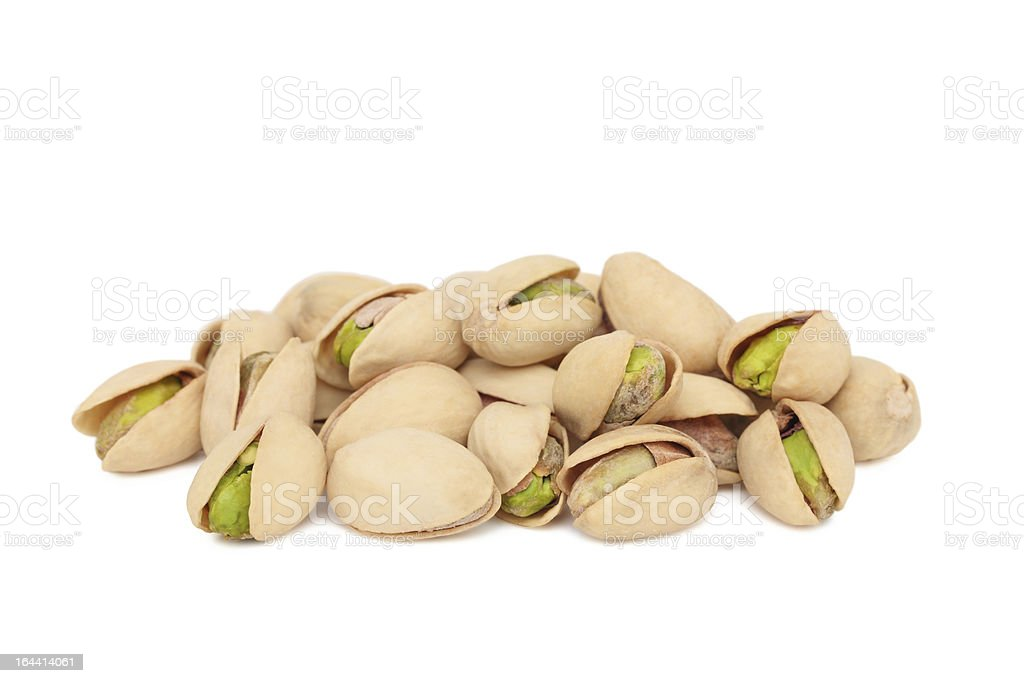 Pile of pistachios (isolated) royalty-free stock photo