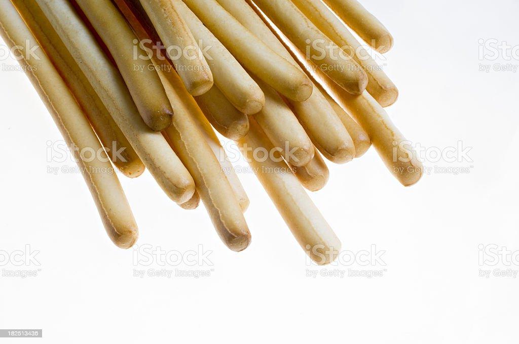 Pile Of Plain Grissini or Breadsticks. stock photo