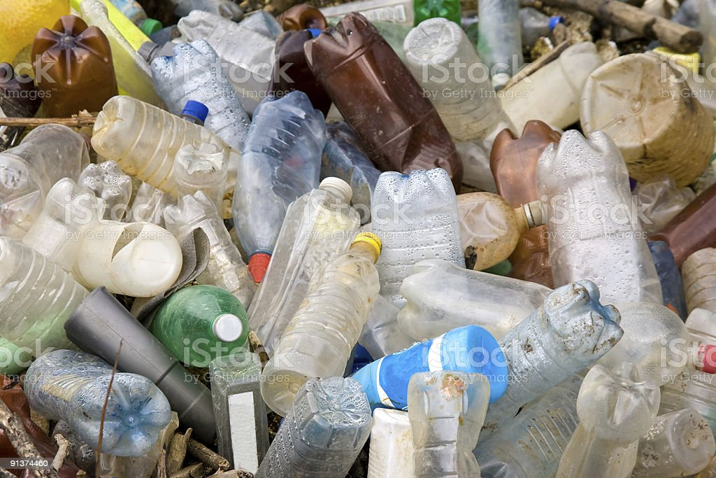 Pile of plastic pet bottles royalty-free stock photo