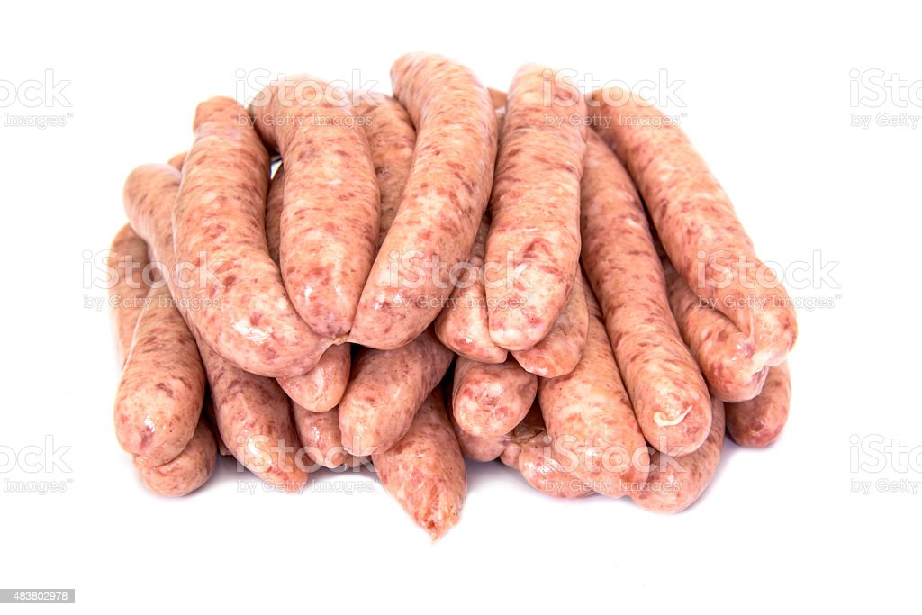 Pile of pork meat sausages stock photo