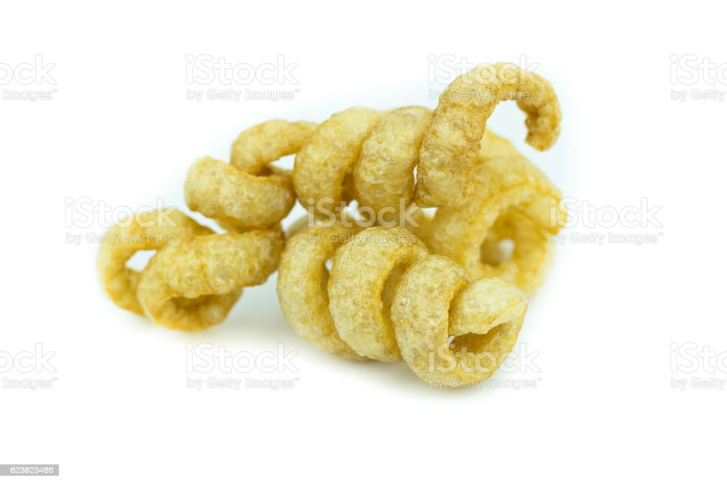 Pile of pork rind isolated on white background stock photo