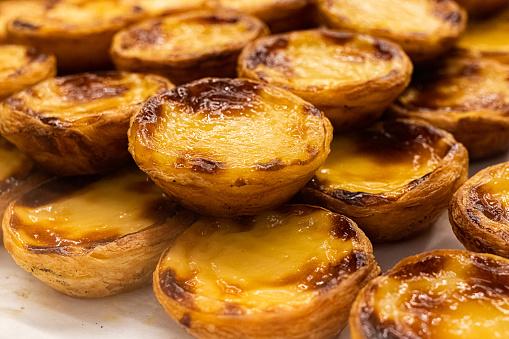 A pile of Portuguese custard tarts