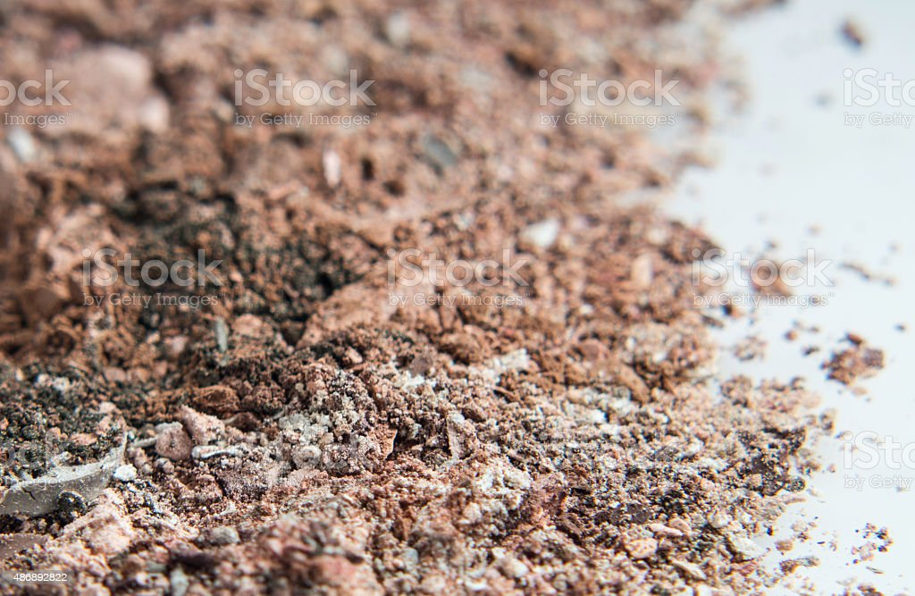 pile of powder eyeshadow in neutral shades stock photo