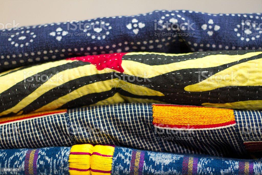 Pile of Printed Cotton African Fabrics/Textiles (Close-Up) stock photo