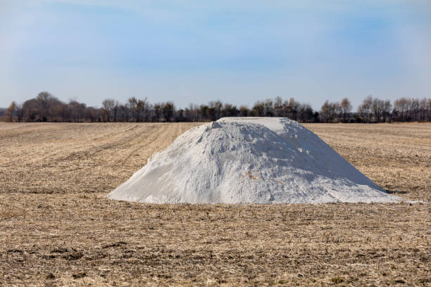 Pile of pulverized agricultural lime, limestone, fertilizer in soybean field stubble waiting fall application stock photo