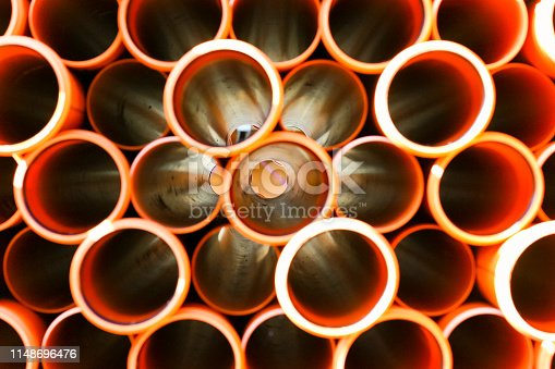 Pile of pvc sewage pipes