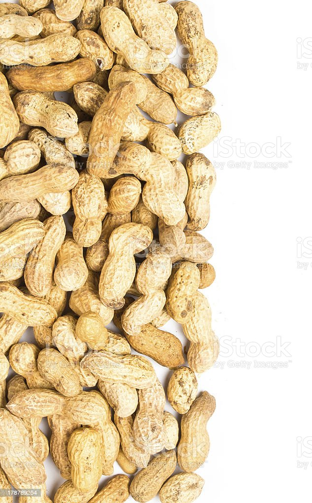 pile of raw shelled big peanuts closeup on white royalty-free stock photo