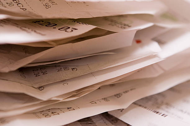 pile of receipts - receipt stock photos and pictures