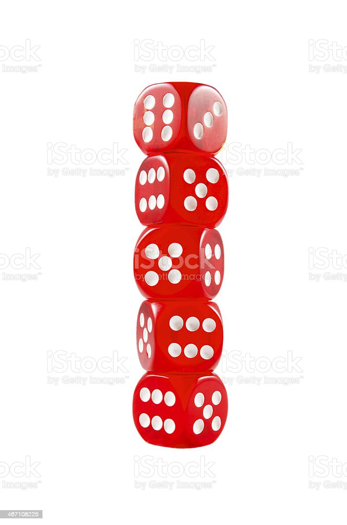 Pile of red dice over white isolated background royalty-free stock photo