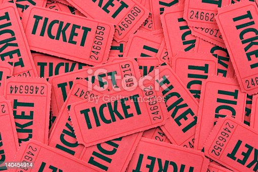 istock Pile of Red Tickets - Closeup Horizontal 140454914
