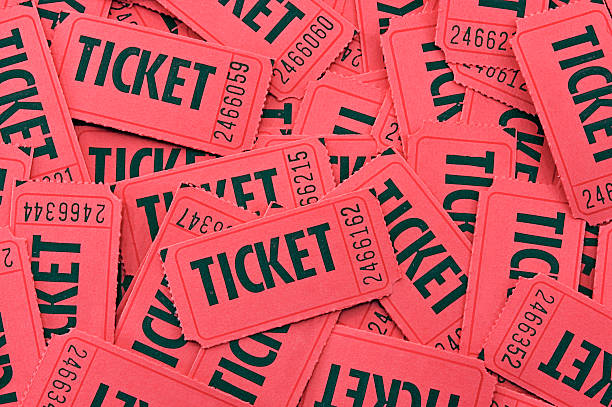 Pile of Red Tickets - Closeup Horizontal stock photo