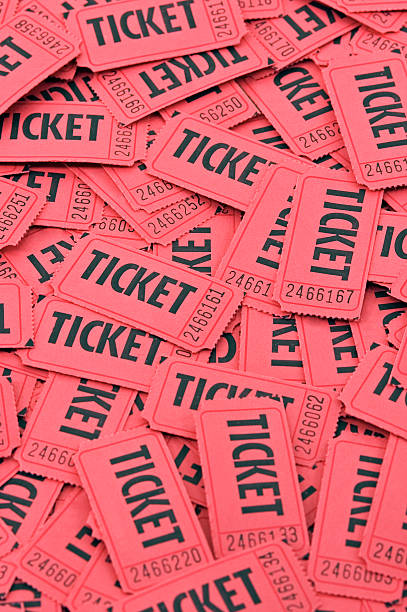 Pile of Red Tickets - Vertical stock photo