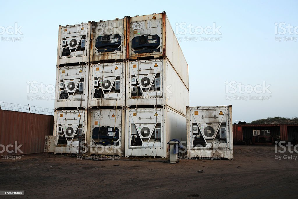 Pile of Refrigerated Containers stock photo