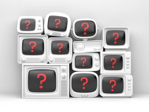 Haufen von Retro-TV - mit roten Frage auf dem Bildschirm. 3D illustration – Foto