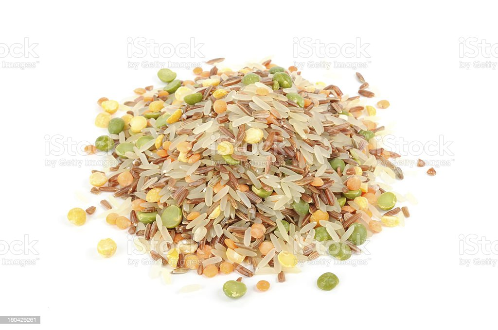 Pile of Rice and Legume Mix Isolated on White Background stock photo