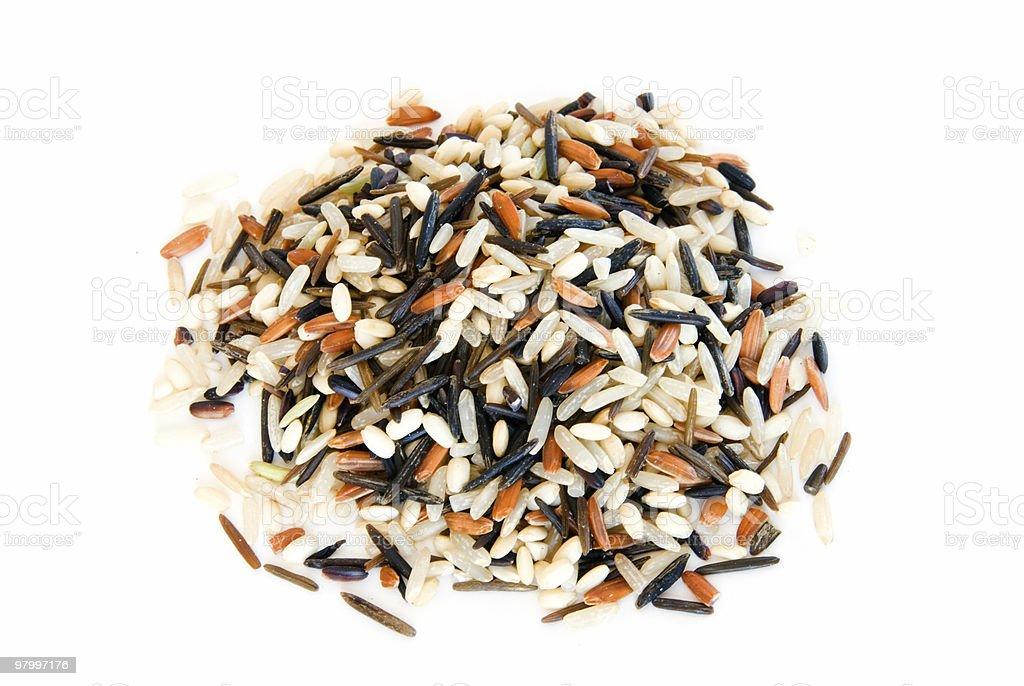 Pile of rice mix on white royalty free stockfoto