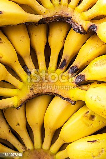 Pile of rip yellow banana background