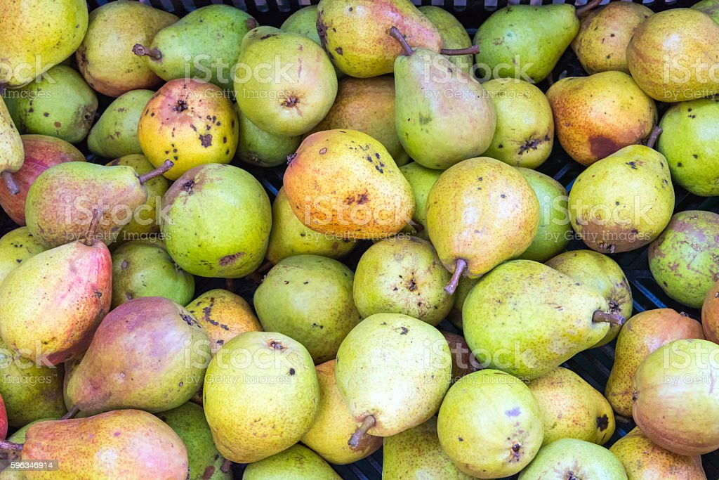 Pile of ripe green pears royalty-free stock photo