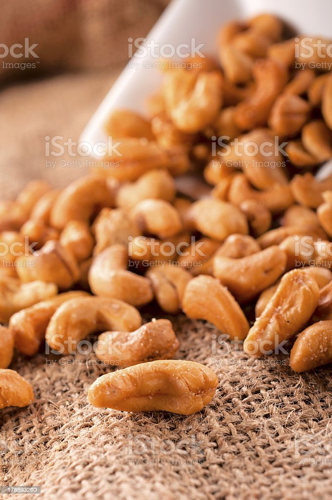 Pile of roasted cashew nuts royalty-free stock photo