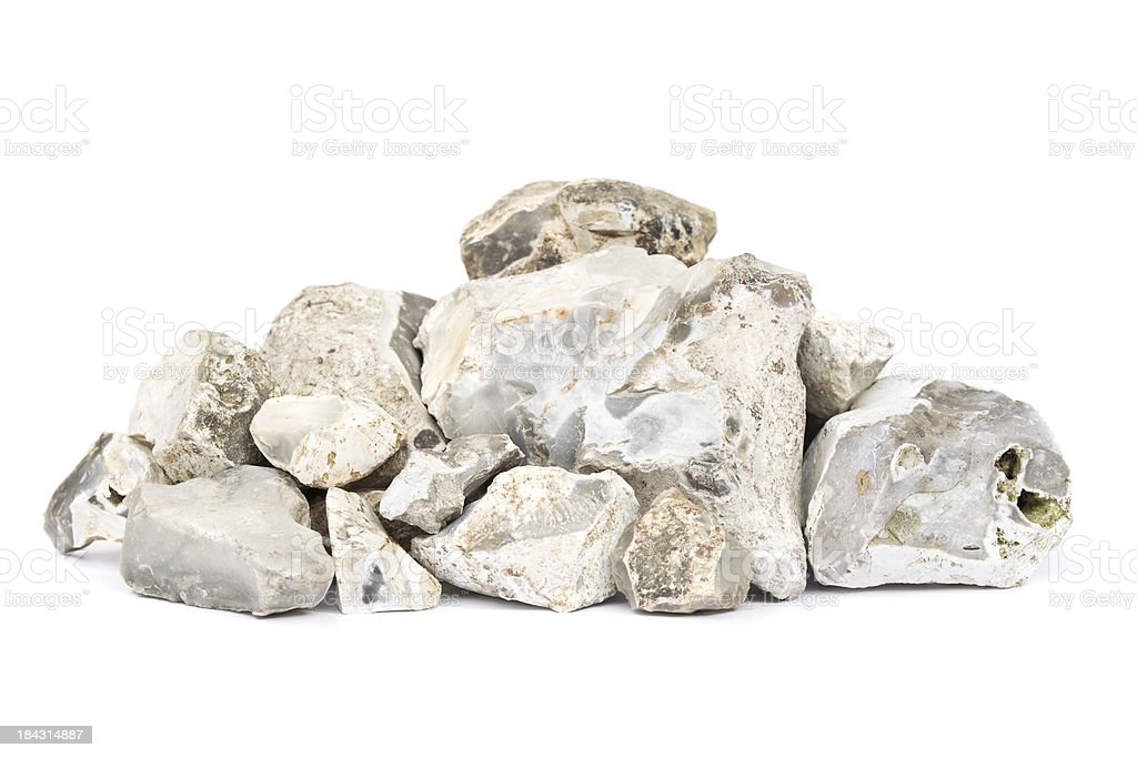 Pile of rocks isolated on white stock photo