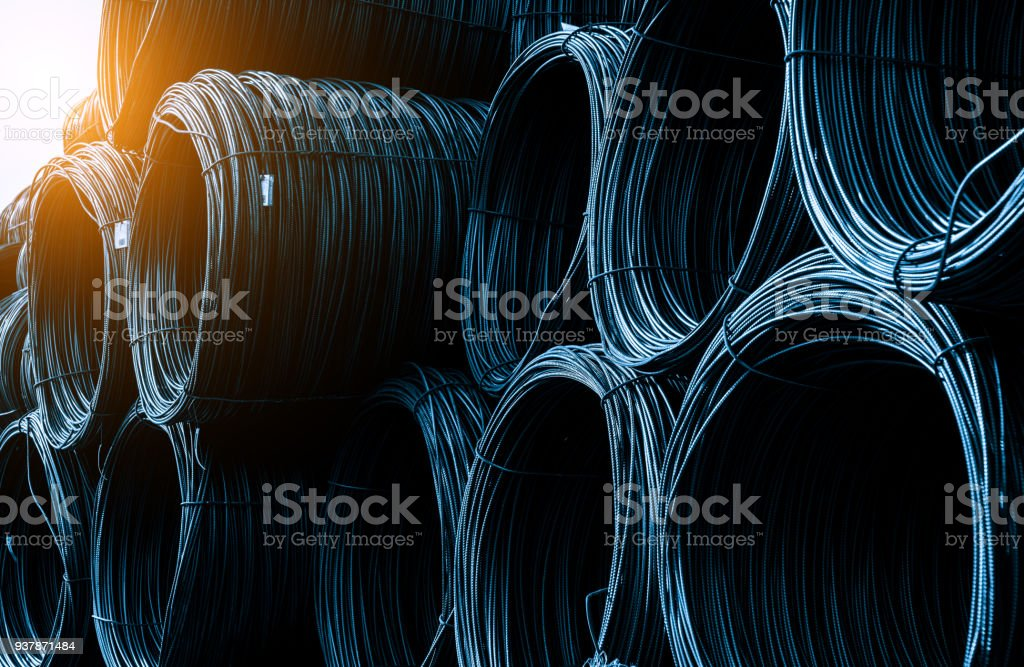 A pile of rolled steel cables in the wharf warehouse
