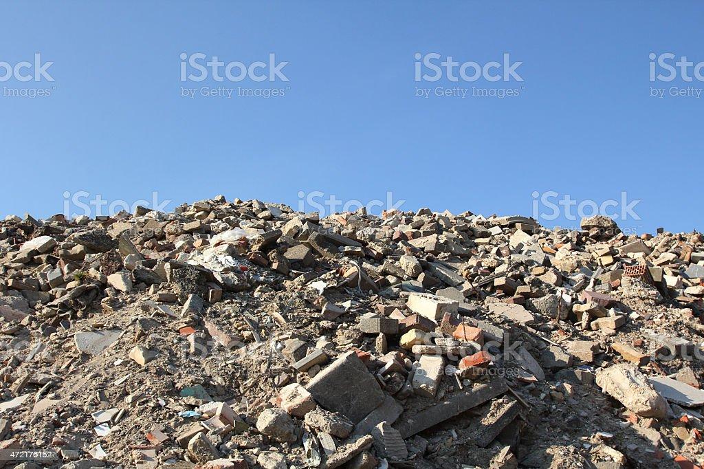 Pile of rubble stock photo