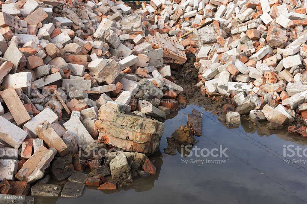 pile of ruined brick building after demolition royalty-free stock photo