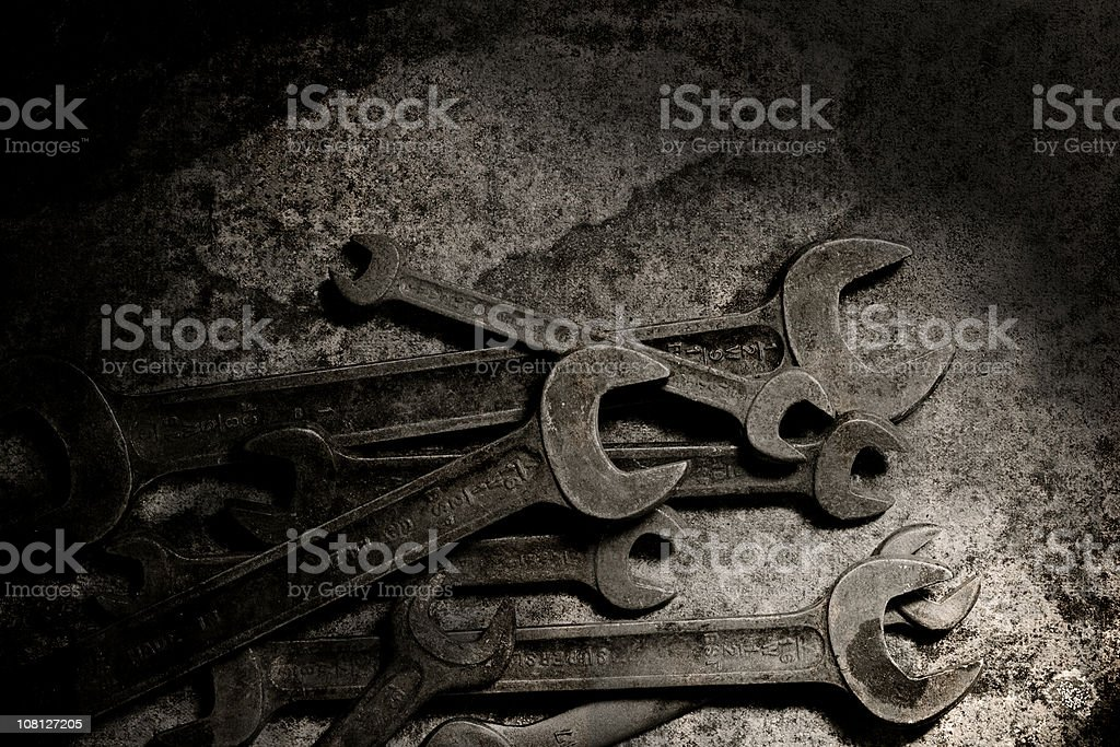 Pile of Rusty Spanners and Wrenches royalty-free stock photo